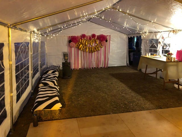 Here is your opportunity to decorate this space as beautifully as our last guests. They used hay bales, fairy lights, a PA, heaters, a table for a guest book and presents . Ask us if you need us to provide these items. (except maybe for presents!)