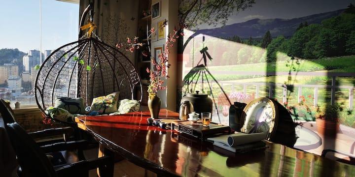 财大旁民宿|茶友之家|盘龙江畔山景| Tea Homestay with mountain view