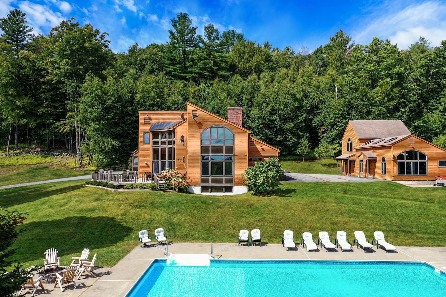 An incredible private estate on 100 acres in Newfane, Vermont. Seven bedrooms, a private pool, hot tub, game room, tennis court, and more!