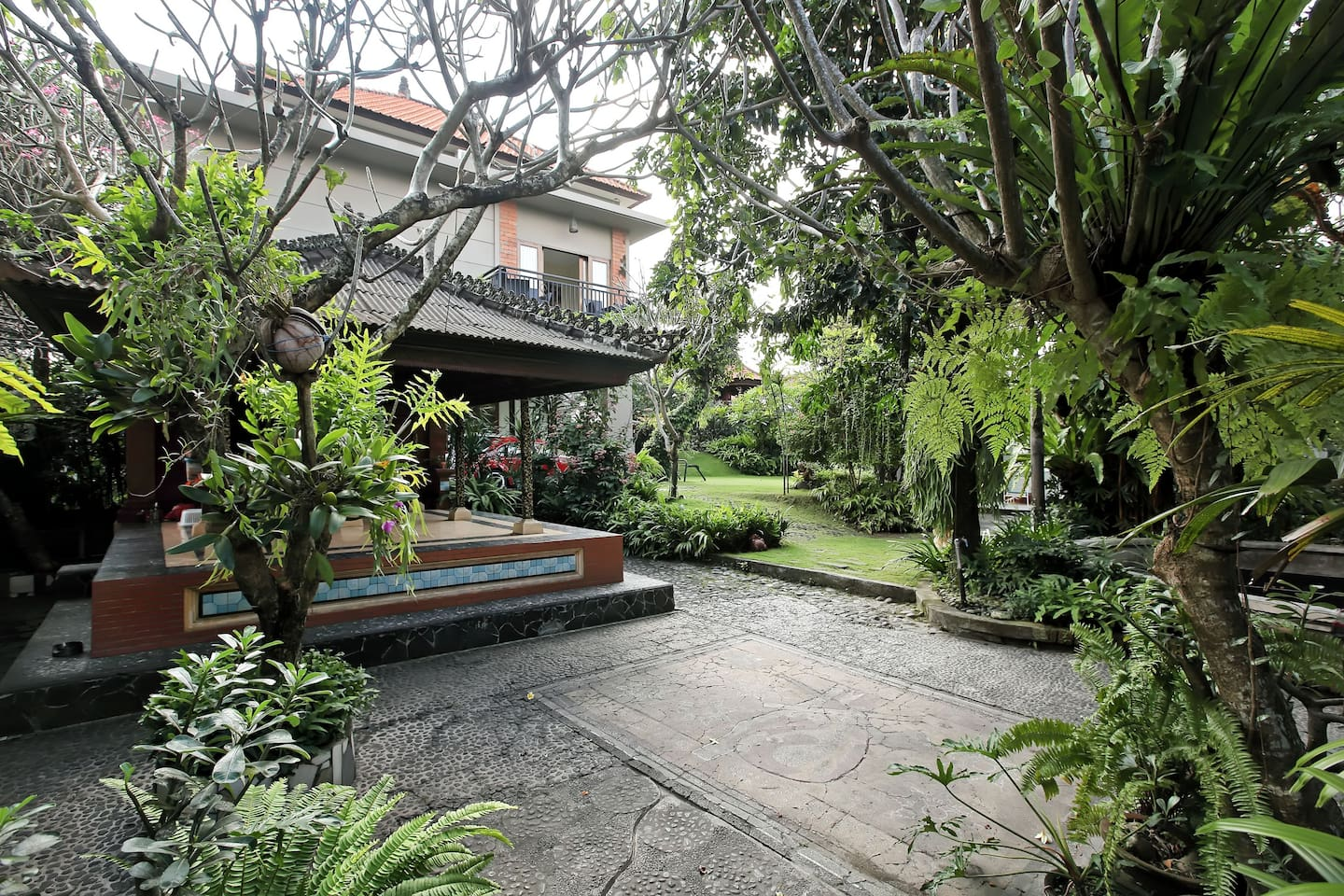 Our house compound surrounded by lush tropical garden