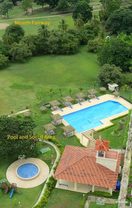 Extensive social area and pools