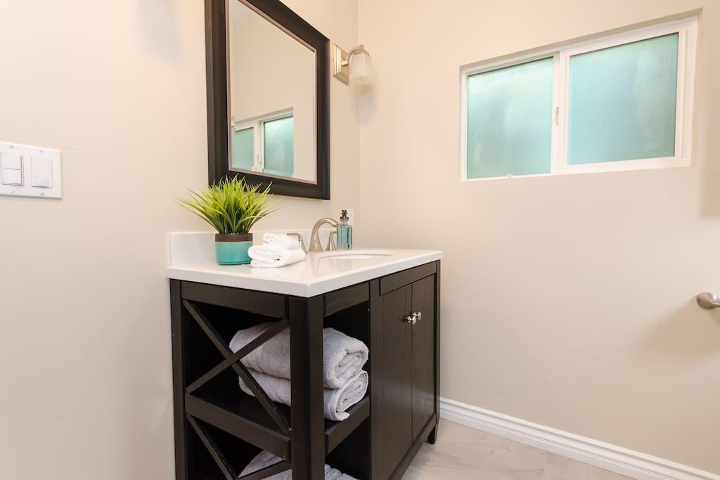 Bathroom providing basic toiletries