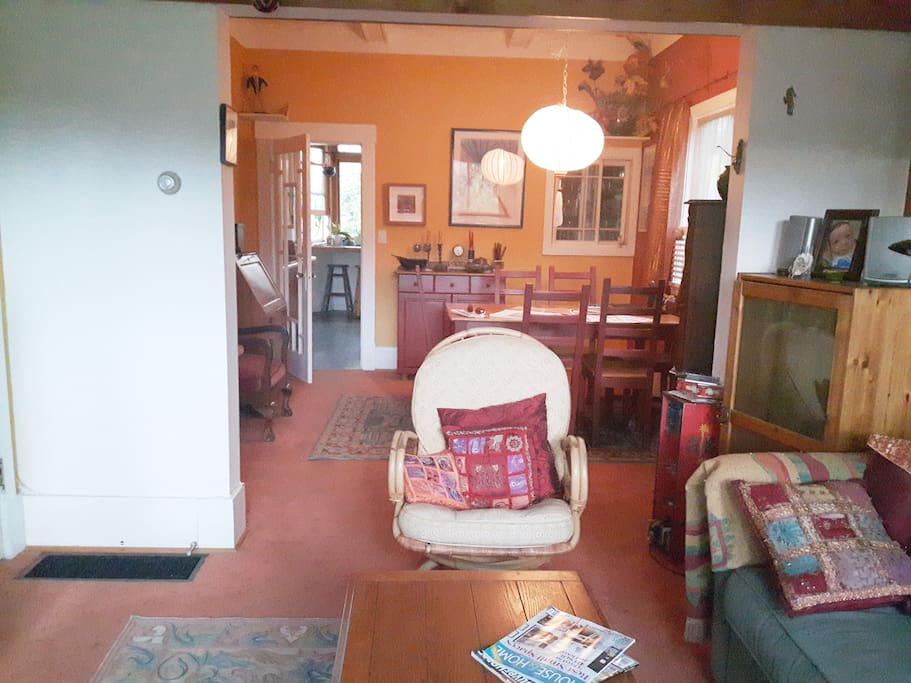 looking from sitting room to dining area, seats 6.   Opens into kitchen area at rear.