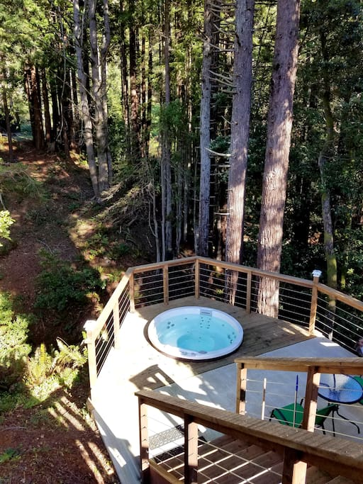 Every guests love this hot tub!  This was built in such an unique location in 2015.  You will love the sound of the stream, sea lions' bark and what else, looking up the stars and the moon on a clear day!!