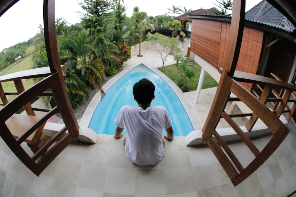 Bedroom balcony doubles as a jumping spot for swimming pool (3 meter deep), one of the many high lights of the villa