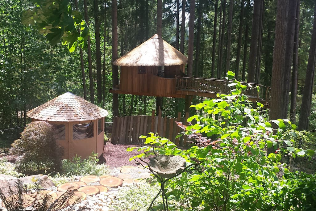 Tree house with garden center