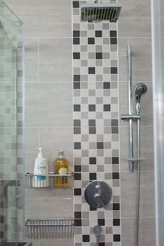 Upstairs Master Bathroom: An instant hot water heater removes waiting time.