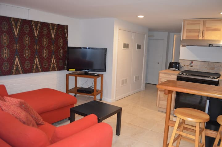 Charming basement apartment 1 block from red line.
