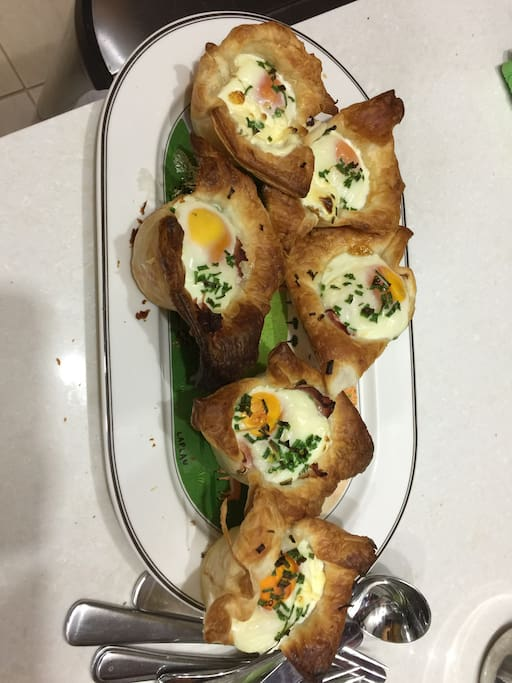 """A sample of """"Breakfast Pots"""" made with puff pastry, ham, sour cream and an egg."""