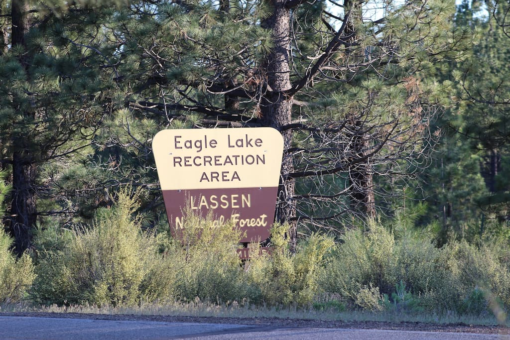 The campsite is 400 feet from the entrance to Lassen National Forest on private property.
