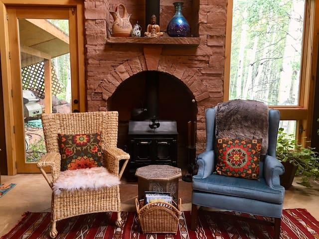 Living Room: Wood burning stove.