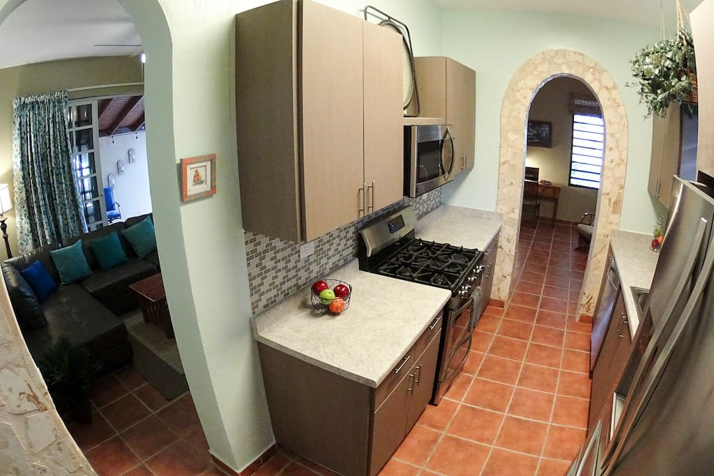 Full range and oven, dishwasher, French door refrigerator, Microwave