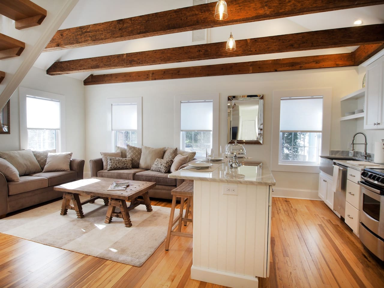 Living Room/Kitchen Combo overlooking Market Square in downtown Pinehurst!