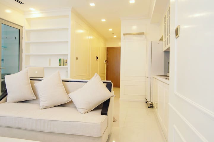 Living room with sofa, smart tivi, hight speed wifi