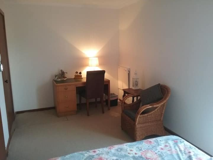 Larger room with queen bed, suit person or couple.