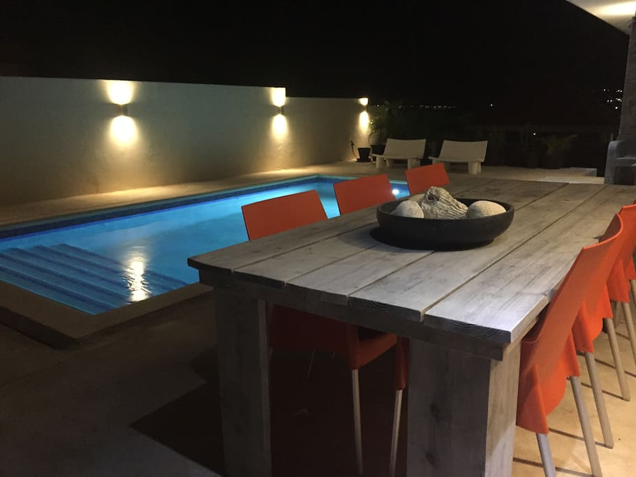 dining table and pool