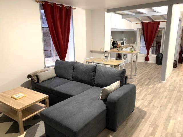 Appartement T2 45m2 tout équipé et meublé, étage 3