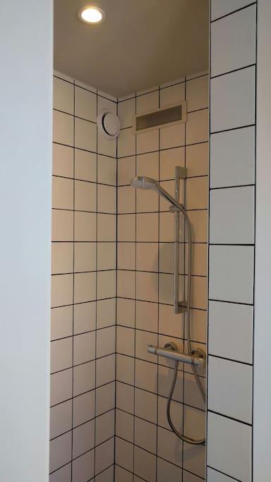 In-room walk-in shower