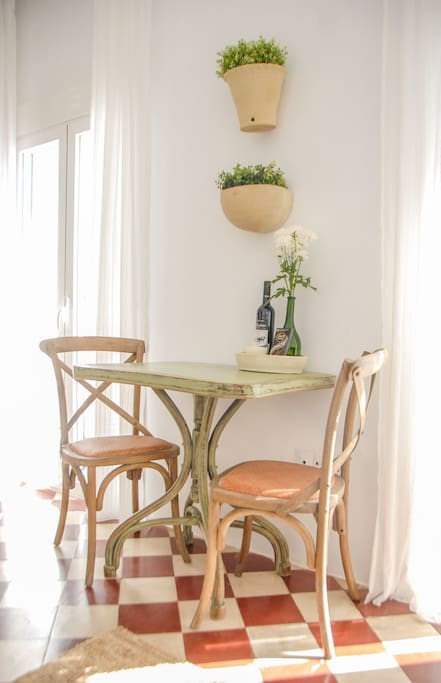 Intimate bistro dining table and chairs.