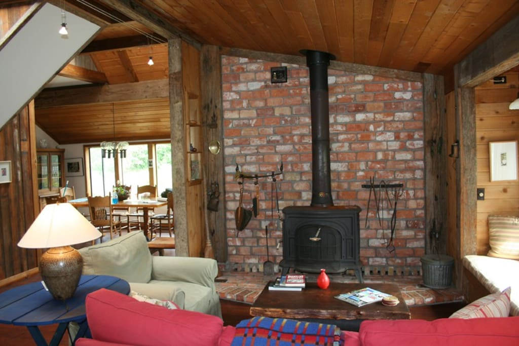 Living room seating area & wood stove