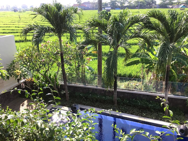 Quaint lux 3bd paddy field view near Finns Canggu