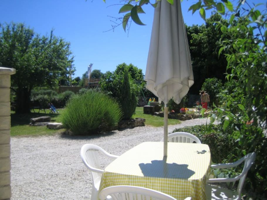 View from 'Grenier' cottage towards the childrens play garden