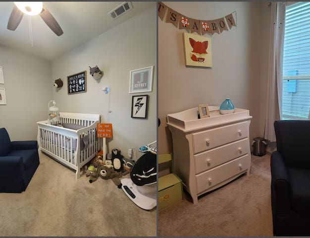 Our nursery is available for guest use upon request. There is also room for another child/adult on a twin size air mattress.