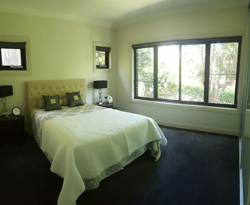 Your private bedroom with a queen bed and plentiful closet space. This space is located in a private wing of the house.