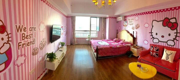 万达樱花公寓 Hello Kitty公主房