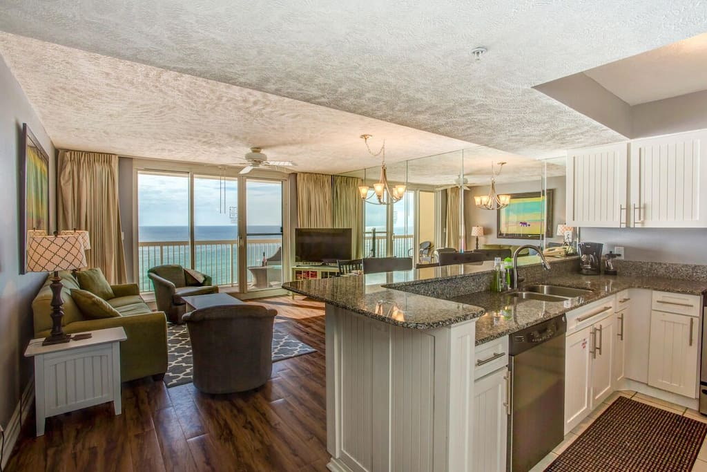Ocean view from kitchen and living room