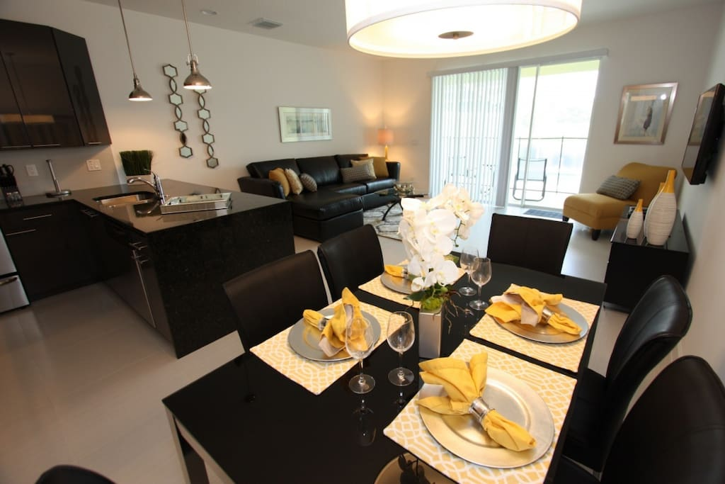 Open dining and living areas