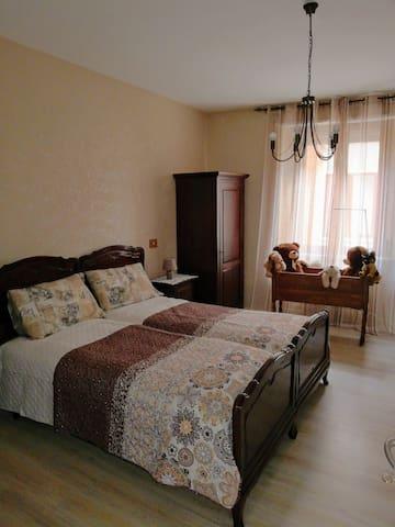 La Camera da letto adattata con due letti matrimoniali