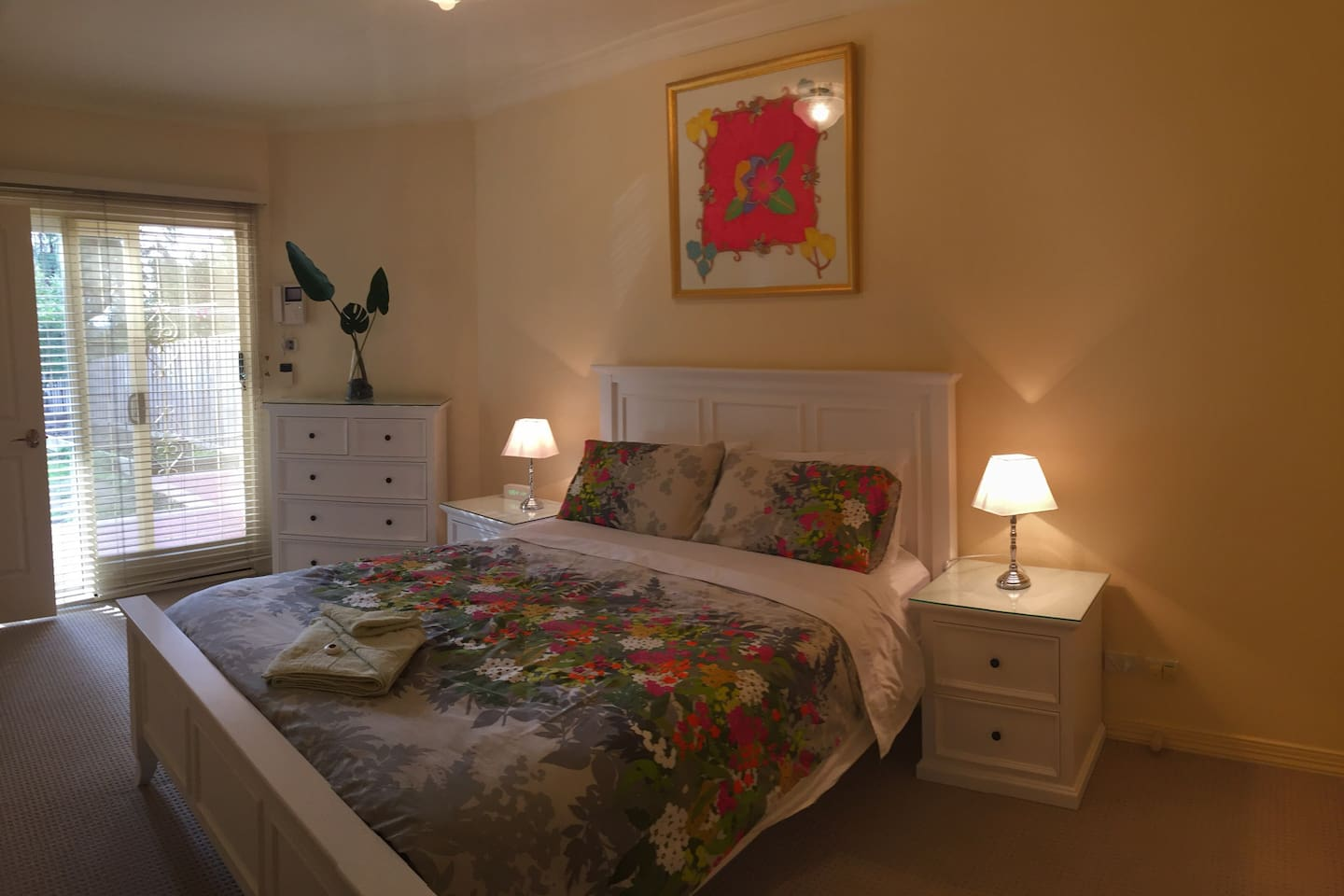 The quality queen bed comfortably sleeps two people.  Sheridan Towels and linen are provided.