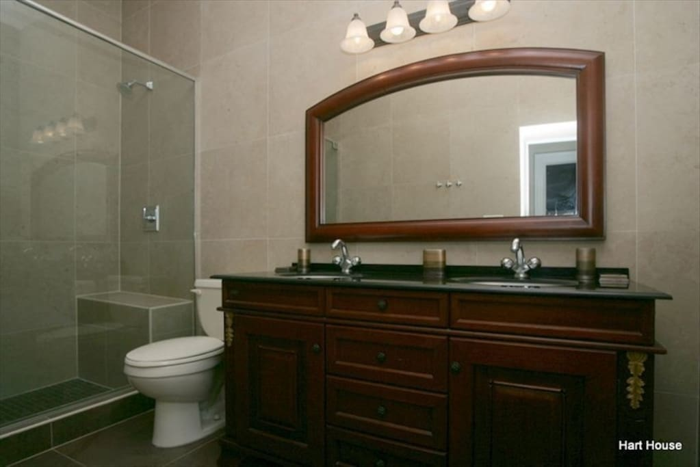 Double shower and vanity