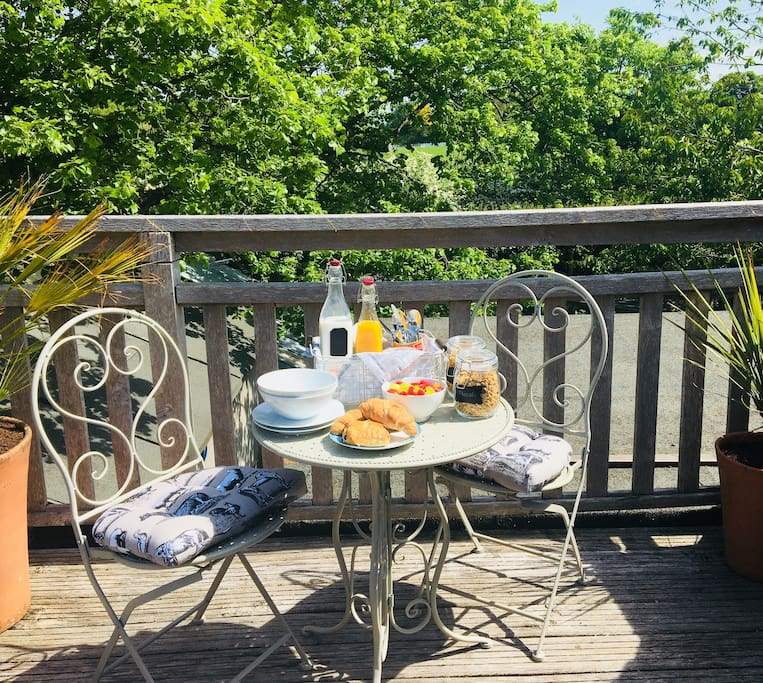 Enjoy breakfast on the private terrace overlooking the kitchen garden