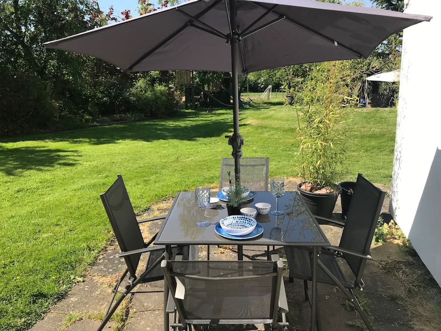 Brand new outdoor garden furniture during the summer months