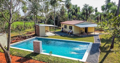 Escape into the nature! Cheerful villa with big pool on huge property!