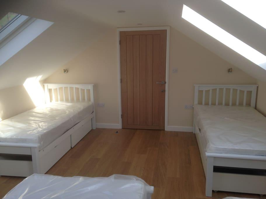Upstairs Mezzanine bedroom that sleeps 5