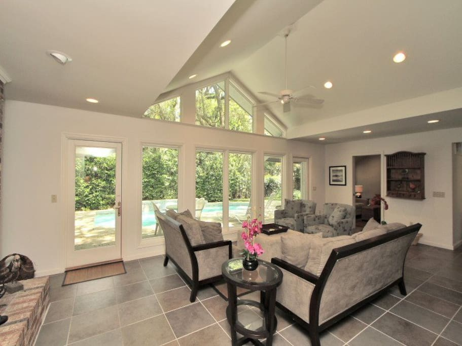 Beautiful Living Room with Views of the Pool at 20 Baynard Cove