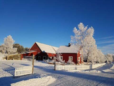 SKOGSTAD - RØDHUSET med mulighet for å leie kano.