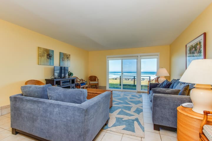 Oceanfront, dog-friendly condo w/sweeping views and beach access