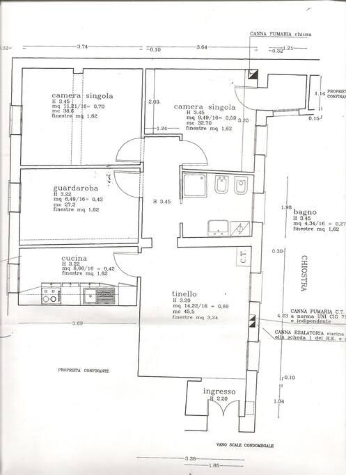 Planimetria dell'appartamento (la camera singola in alto a destra non sarà disponibile per gli ospiti).