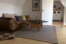 Wohnzimmer mit Blick auf die Flensburger Förde