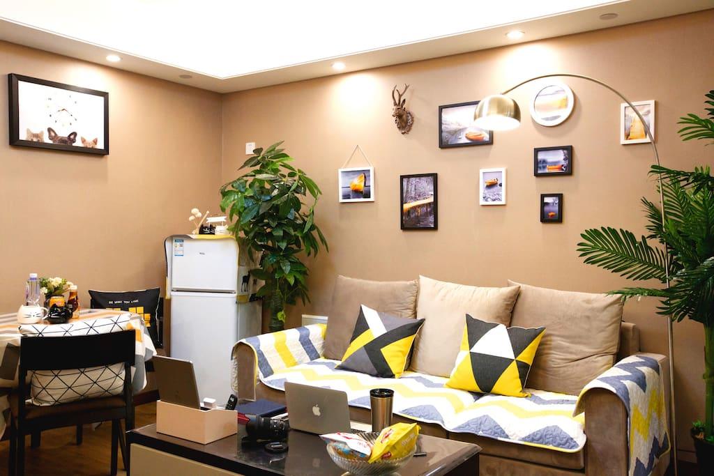 客厅沙发休息,吃饭区域