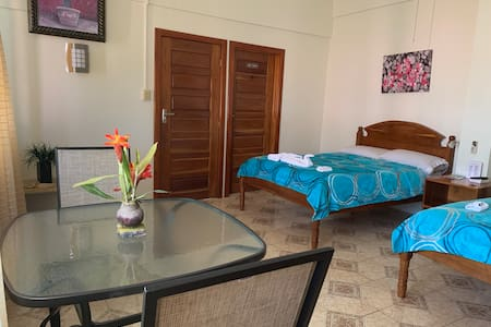 Room No. 1 Waterfront Room with A/C private Bath double beds ,Hot & Cold,Free WiFi,Netflix and panoramic view to the caribbean Sea.