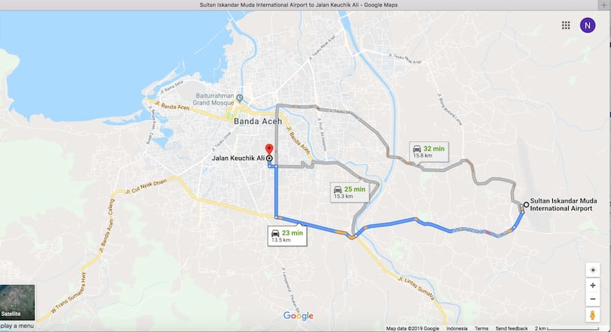 From airport to Banda Aceh Batoh Home on Jalan Keuchik Ali Street only 25 minutes