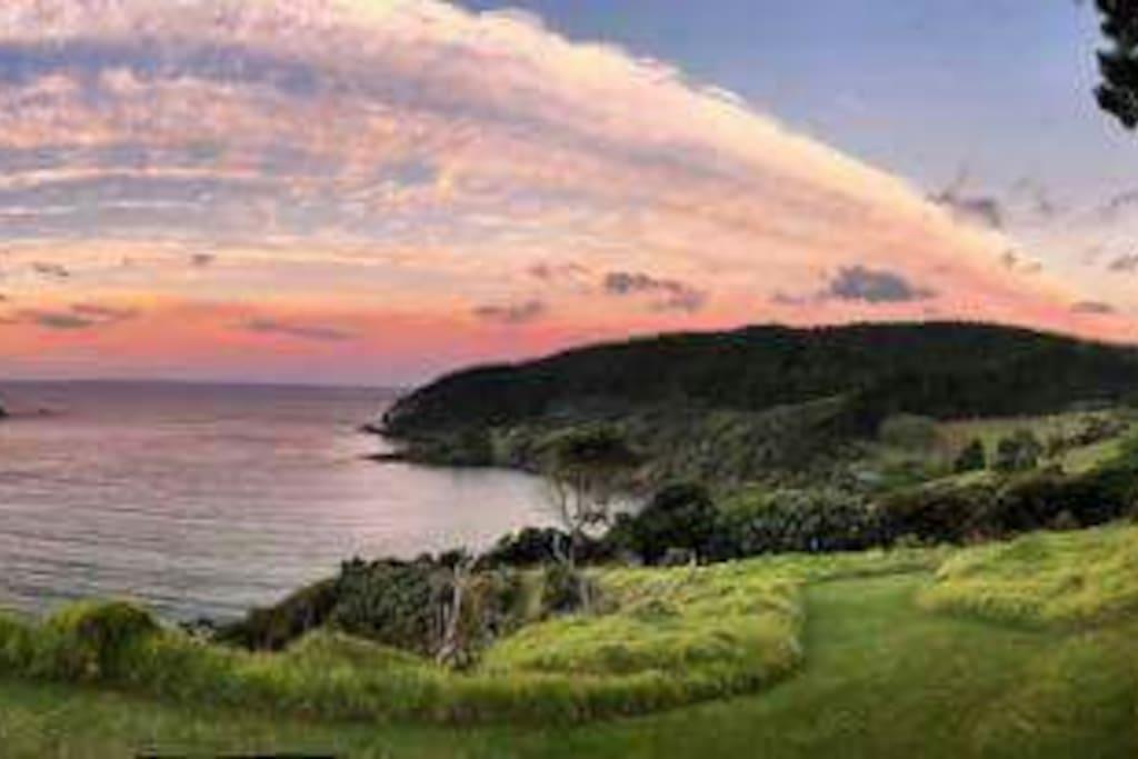 sunrise looking over orua bay