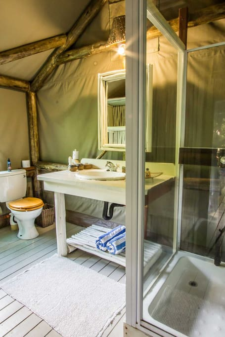 The private en suite bathroom with hot water shower