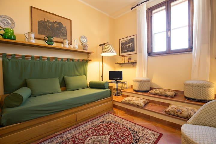 Interno: soggiorno (divano letto, tv)