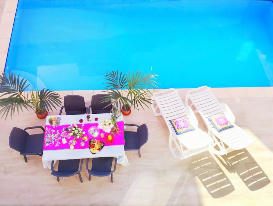 View of the pool from the balcony of one of the bedrooms